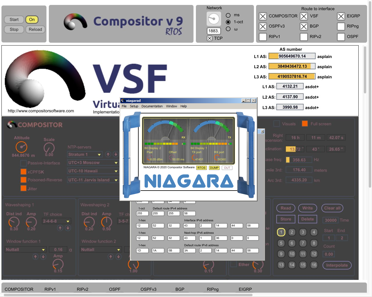 Niagara 18 software modem in front of Compositor RTOS 9.0.2